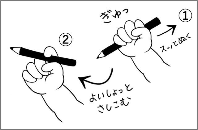 鉛筆の持ち方を教える1