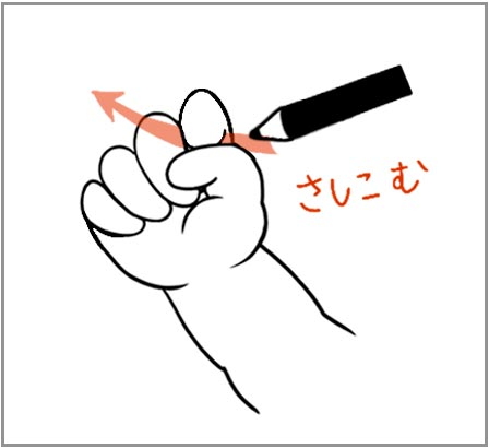 鉛筆の持ち方を教える3