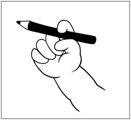 鉛筆の持ち方を教える4